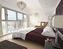 Docklands Bedroom Visualisation. 3Ds Max & Vray