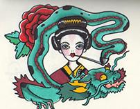 American Traditional Tattoo Illustrations 2014