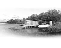 Modern cottage house at lake