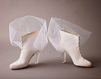 White Wedding Boots with Resin Cast Heels