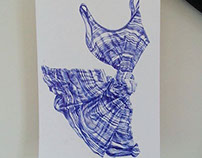 Cuffed and Hemmed Series - Blue Biro on paper