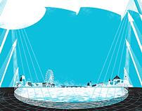 Hungerford Bridge illustration for Sunday Publishing