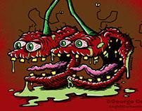 Scary Cherries Lowbrow Food Cartoon Character Sketch