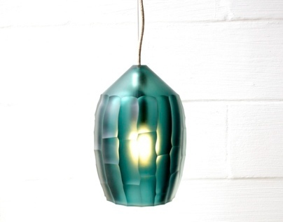 bamboo pendant light / turquoise