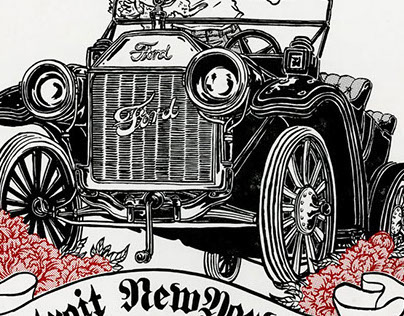 DETROIT - NY - TOKYO letterpress poster