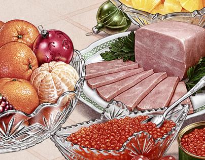 Иллюстрация с Новогодним столом.