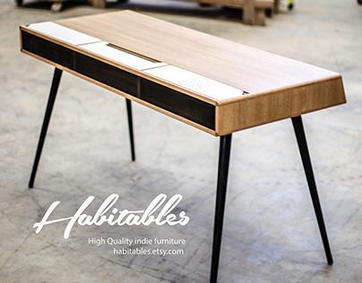 Desk ,bureau, escritorio in oak wood 140 cm